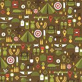 image of army  - Seamless pattern of flat colorful  military and war icons set - JPG