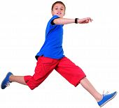 Isolated Full Length Portrait Of Running Jumping Boy