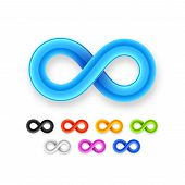 Colorful infinity symbol set icon from glossy wire with shadow