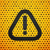Attention black sign on yellow metal texture with holes