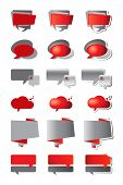 Speech bubbles in shades of red and grey. Three styles - flat, gradient and gradient with shadow.