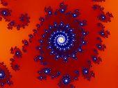 Intricate Red-blue Fractal Design Based On Julia Set