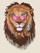 artwork of hipster lion smoking tube in pink glasses, sketch dra