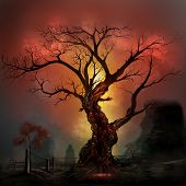 stock photo of horror  - Scary horror tree with zombie and monster demon faces - JPG