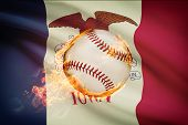 Baseball Ball With Flag On Background Series - Iowa