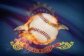 Baseball Ball With Flag On Background Series - North Dakota