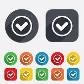 Check mark sign icon. Yes circle symbol.