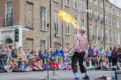 Dublin, Ireland - July 13: Fire-eater In The Laya Healthcate City Spectacular Festival In  Dublin