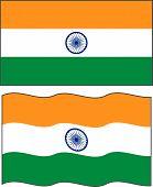 Flat and waving Indian Flag. Vector