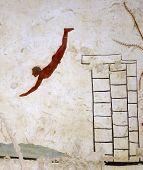 Ancient Greek Fresco in Paestum Italy