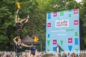 Dublin, Ireland - July 13: Fire Acrobats In The Laya Healthcate City Spectacular Festival In Dublin