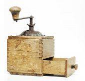 foto of wooden box from coffee mill  - old coffee grinder - JPG