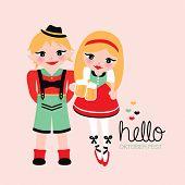 Fun lederhosen and dirndl german illustration traditional german oktoberfest costumes postcard cover design in vector