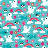 Seamless water world zoo seal fish rainbow and penguin illustration background pattern in vector