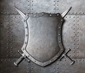 stock photo of ironclad  - metal shield and two crossed swords over armor plates background - JPG