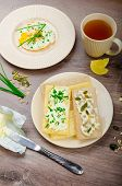 Crisp Crispbread With Cheese Spread With Chives And Crisp Crispbread With Curd Cheese Spread Chives