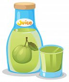 Illustration of a bottle of guava juice on a white background