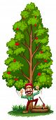 Illustration of a happy woodman under the tree on a white background