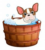 Illustration of a cute little dog taking a bath on a white background
