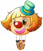 Illustration of a big clown balloon with a basket full of happy kids on a white background