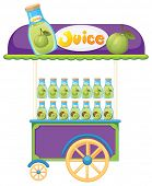 Illustration of a guava fruit juice cart on a white background