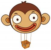 Illustration of a monkey balloon with an empty basket on a white background