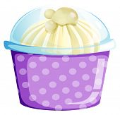 Illustration of a disposable cup with a sweet dessert inside on a white background