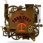 Vector isolated image of the complex fantastic machine with stove, gears, levers, pipes and other machinery. Symbol of industry, energy and power