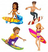 Illustration of the male and female surfers on a white background