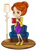 Illustration of a woman near the blue couch holding a red mug on a white background