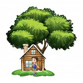 Illustration of a boy playing outside the wooden house on a white background