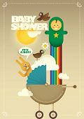 Creative baby shower poster. Vector illustration.