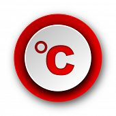 celsius red modern web icon on white background