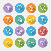 Set Of Sixteen Different Flat Vector Wi-fi And Wireless Icons With Long Shadow For Communicate Using