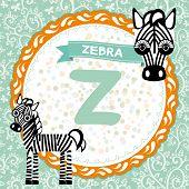 Abc Animals Z Is Zebra. Childrens English Alphabet.