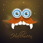Horrible face of a ghost with big eyes, moustache, teeth and stylish Halloween text on shiny brown backkground.