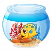 Illustration of a jar with a fish on a white background