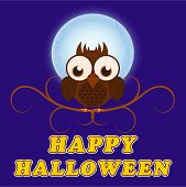 Scary owl sitting on a branch infront of moon with stylish Halloween text on blue background.