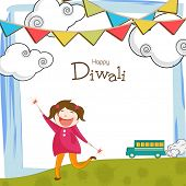 Little cute girl holding firecrackers and stylish text of Happy Diwali on decorated stylish background.