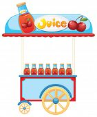 Illustration of a juice cart on a white background