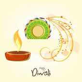 Illuminated oil lit lamp with exploding cracker for Diwali celebration on beige background.