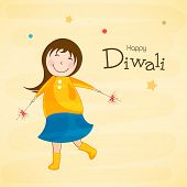 Little cute girl holding crackers for Diwali celebration on yellow grungy background.