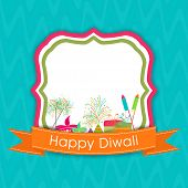 stock photo of diwali  - Diwali celebration with stylish text of Diwali and crackers on frame - JPG