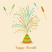 Diwali celebration with exploding cracker and stylish text of Diwali.