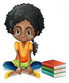 Illustration of a young Black girl sitting beside her books on a white background