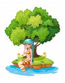 Illustration of a mermaid in the island on a white background