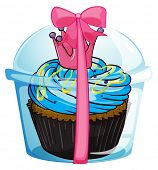 Illustration of a cupcake container with a pink ribbon on a white background
