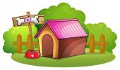 Illustration of a doghouse near the wooden fence on a white background