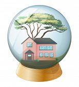Illustration of a pink house inside the crystal ball on a white background