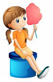 Illustration of a young woman eating a cotton candy on a white background